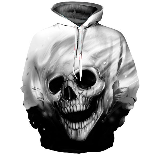 Black & White Skull Face All-Over Graphic Printed Pullover Hoodie
