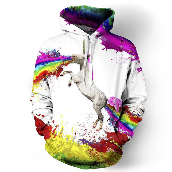 Exploding Rainbow Unicorn All Over Graphic Printed Pullover Hoodie