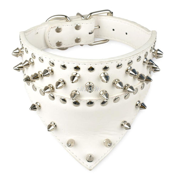 Spiked & Studded PU Leather Bandana Collar