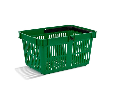 (Box of 22) - Premium 27 litre plastic shopping baskets Black/Green for £50!