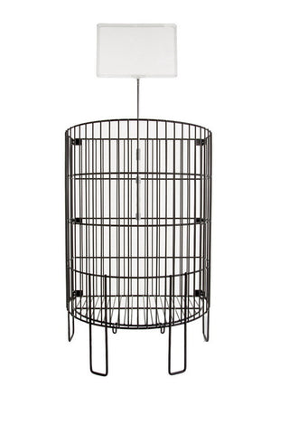 The perfect halfmoon-shaped wire dump bin for end-of-shelving & aisle promotions