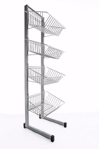 Space-saving display stand - 4 baskets