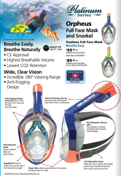 LAND AND SEA ORPHEUS FULL FACE MASK