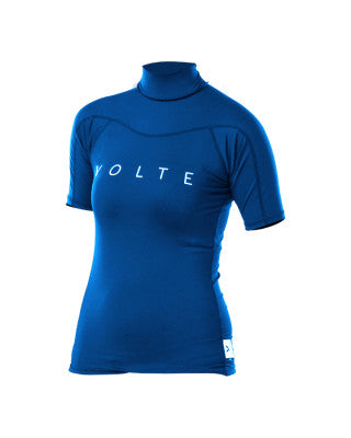 VOLTE WOMENS POLYFLEECE  S/S RASH TOP - BLACK or BLUE