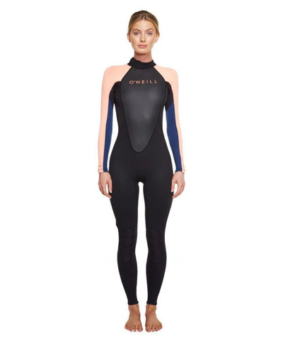 REACTOR II 3/2MM WOMENS STEAMER WETSUIT - BLACK/GRAPEFRUIT