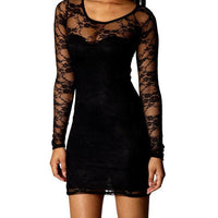 Stock proof / A variant without stock - Black Long Sleeve Lace Dress