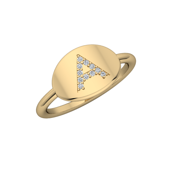 Oval Initial Signet Ring with Diamonds