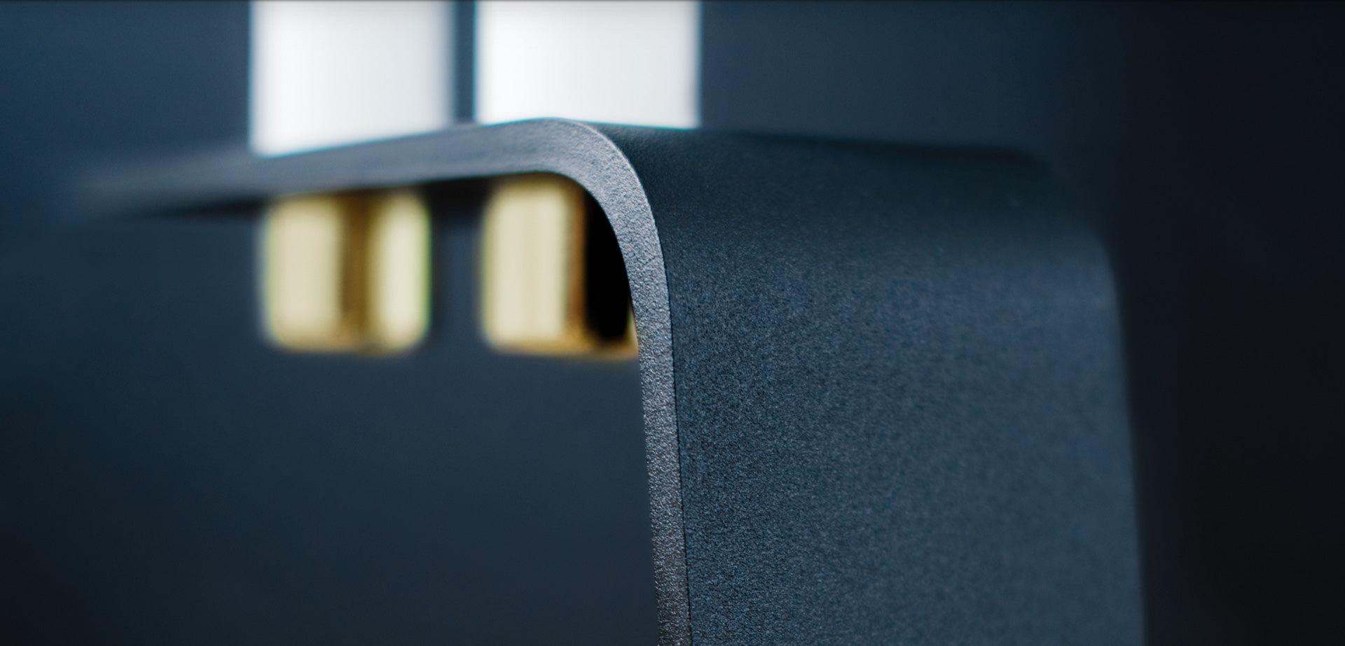 Vinkel candle holder close up of matte black powdercoated textured surface