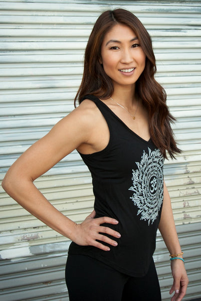 women's yoga tank top breathe sweat mandala - zen fuego