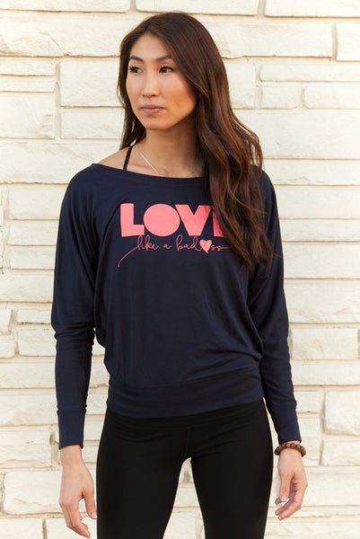 Love Like a Badass Women's Flowy Long Sleeve Yoga Top - Zen Fuego