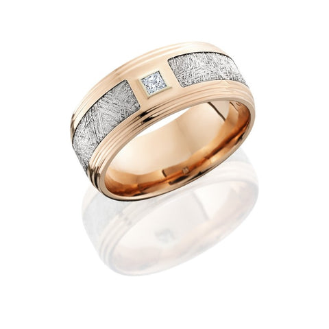 14K Rose Gold 9mm Flat Band with Double Grooved Edges, 4.5mm Meteorite inlay and .10ct Diamond