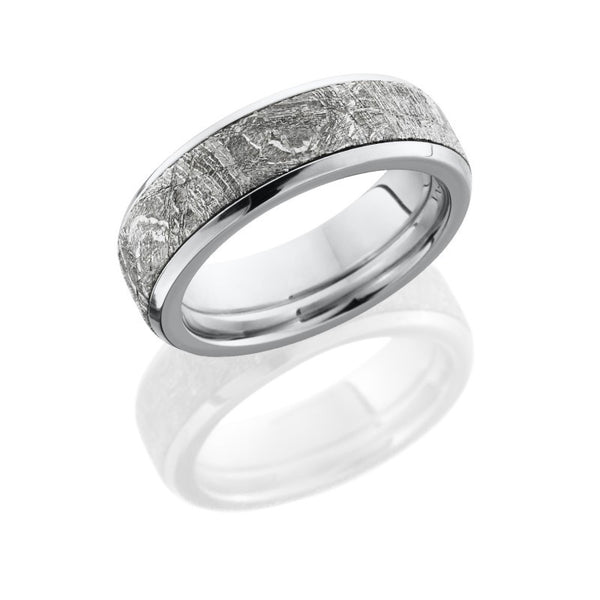 14K White Gold 7mm Flat Band with Beveled Edges and 5mm Meteorite inlay