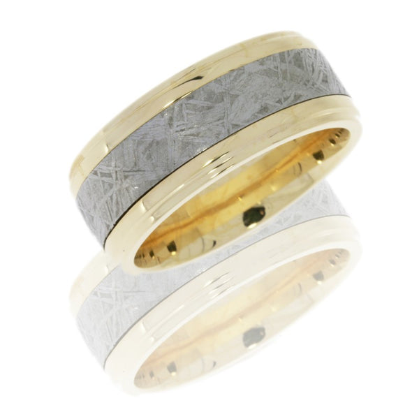 14K Yellow Gold 10mm Flat Band with Grooved Edges and 5mm Meteorite inlay