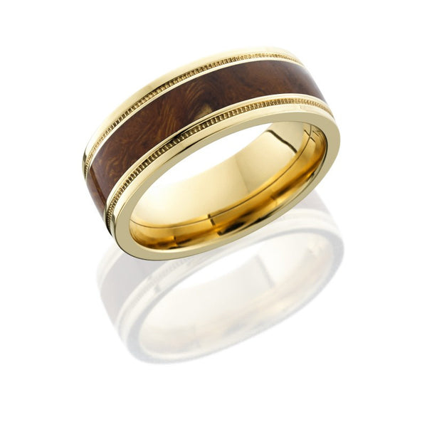 Desert Ironwood Inlay 14K Yellow Gold Band