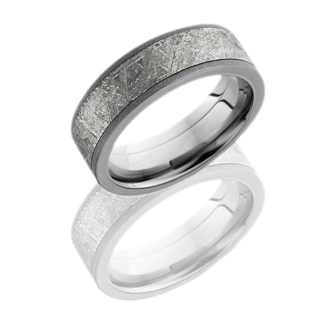 Titanium 7mm Flat Band with 5mm Meteorite inlay