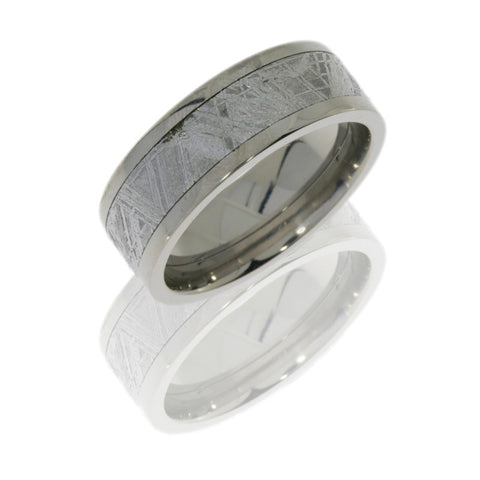 Titanium 8mm Flat Band with 5mm Meteorite inlay