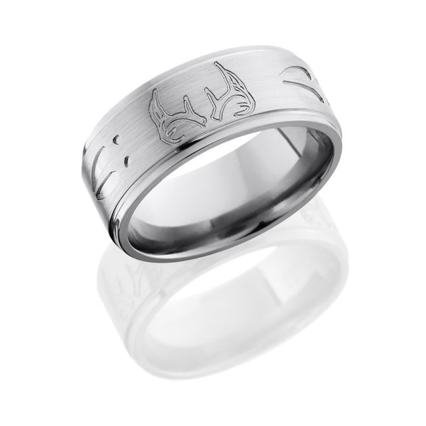 Deer Track and Antlers Titanium Band