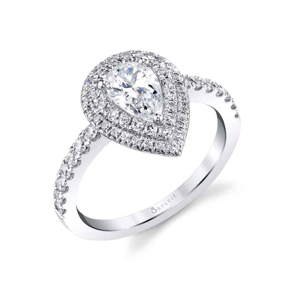 Sylvie Collection Pear Cut Double Halo Engagement Ring