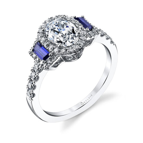 Diamond Engagement Ring With Blue Sapphire Accents