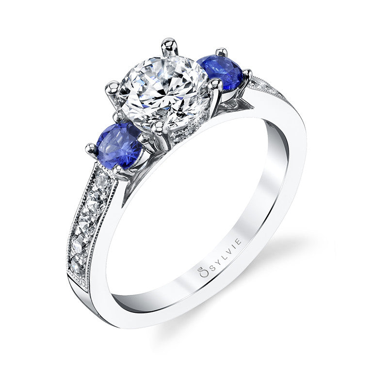 Sylvie Collection Lola Diamond & Blue Sapphire Engagement Ring
