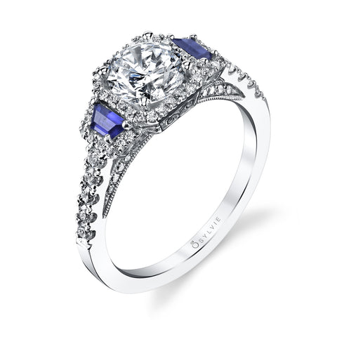 Sylvie Collection Frida Diamond & Blue Sapphire Engagement Ring
