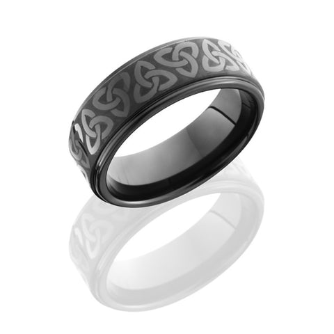 Celtic Pattern Tungsten and Ceramic Band