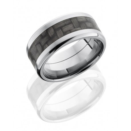 Titanium 10mm Flat Band with Beveled Edges and 5mm Carbon Fiber inlay