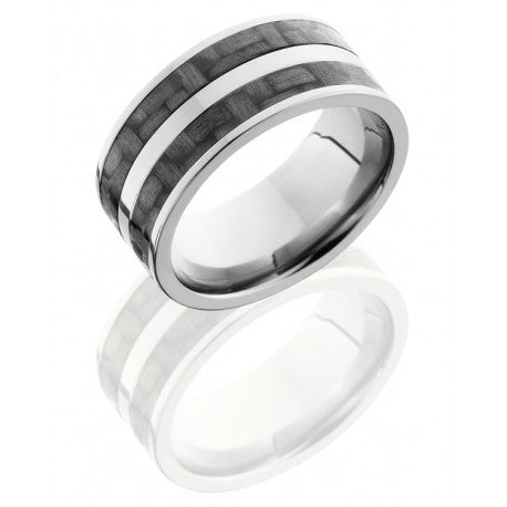 Titanium 10mm Flat Band with Two 3mm Carbon Fiber inlays