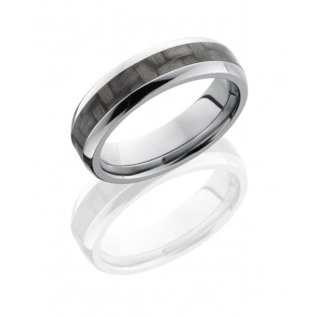 Titanium 6mm Domed Band with 3mm Carbon Fiber inlay