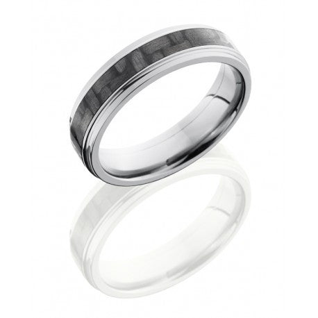 Titanium 6mm Flat Band with Grooved Edges and 3mm Carbon Fiber inlay