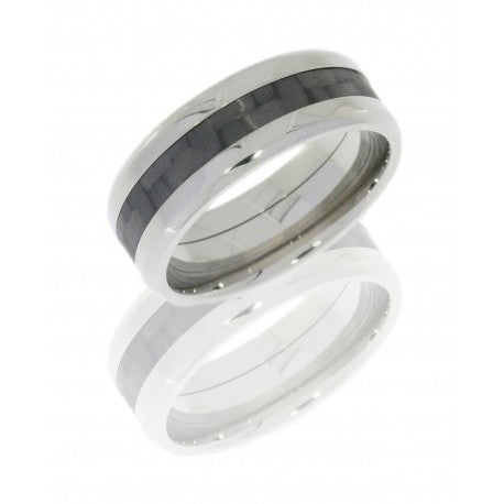 Titanium 8mm Flat Band with Beveled Edges and 3mm Carbon Fiber inlay