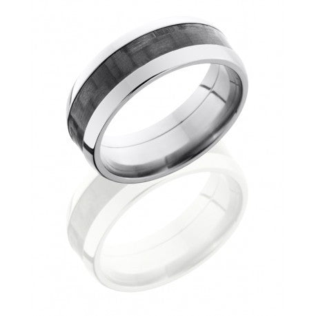 Titanium 8mm Domed Band with 4mm Carbon Fiber inlay