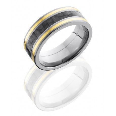 Titanium 8mm Flat Band with 3mm Carbon Fiber and Two 1mm 14K Yellow Gold inlays