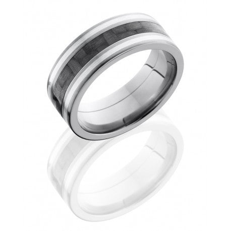 Titanium 8mm Flat Band with 3mm Carbon Fiber and Two 1mm Sterling Silver inlays