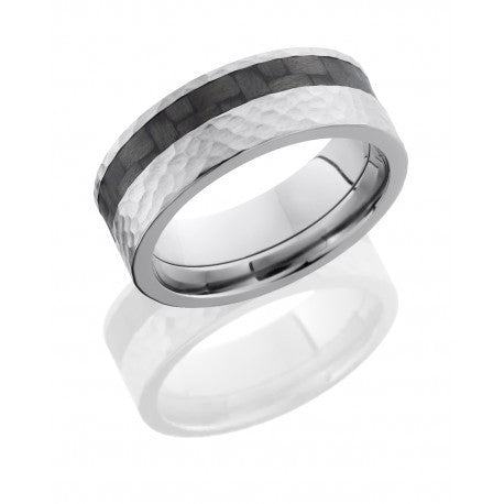 Titanium 8mm Flat Band with 3mm Off-Center Carbon Fiber inlay