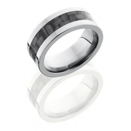 Titanium 8mm Flat Band with 4mm Carbon Fiber inlay