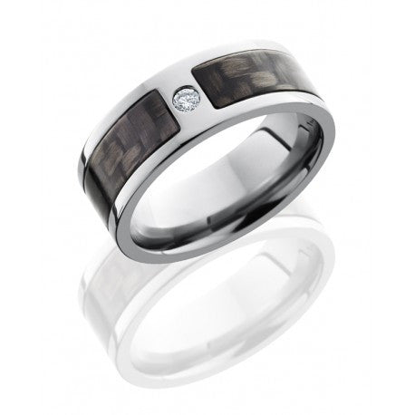 Titanium 8mm Flat Band with 5mm Carbon Fiber inlay and .07ct Diamond