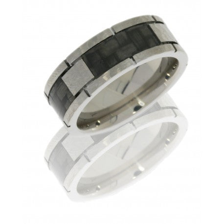 Titanium 8mm Flat Band with Four Carbon Fiber Segments