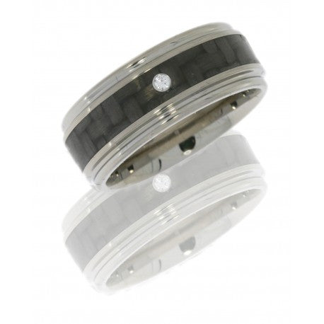 Titanium 8mm Flat Band with Rounded Edges, 4mm Carbon Fiber inlay and .03ct Diamond