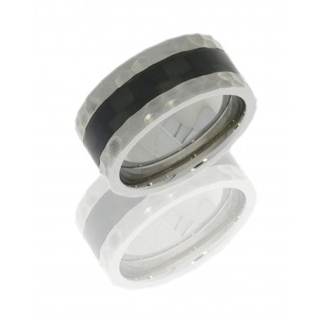 Titanium 9mm Flat Band with 4mm Carbon Fiber inlay