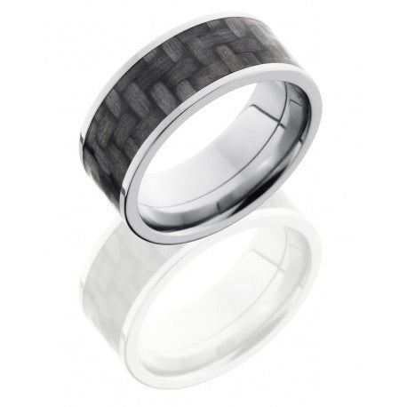 Titanium 9mm Flat Band with 7mm Carbon Fiber inlay