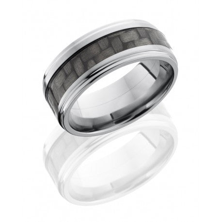 Titanium 9mm Flat Band with Grooved Edges and 4mm Carbon Fiber inlay