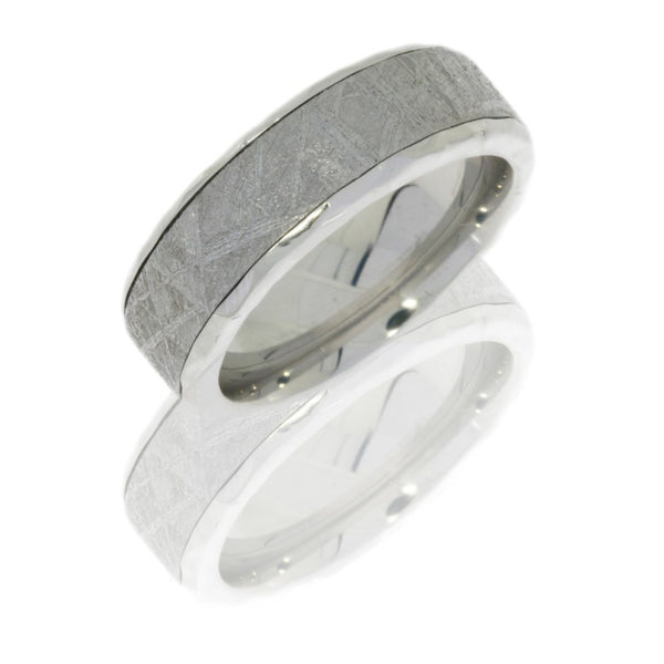 Cobalt Chrome 7mm Flat Band with Beveled Edges and 5mm Meteorite inlay
