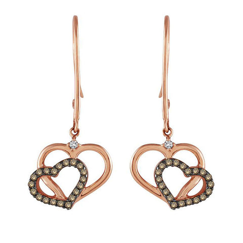 Rose Gold Double Heart Dangle Earrings