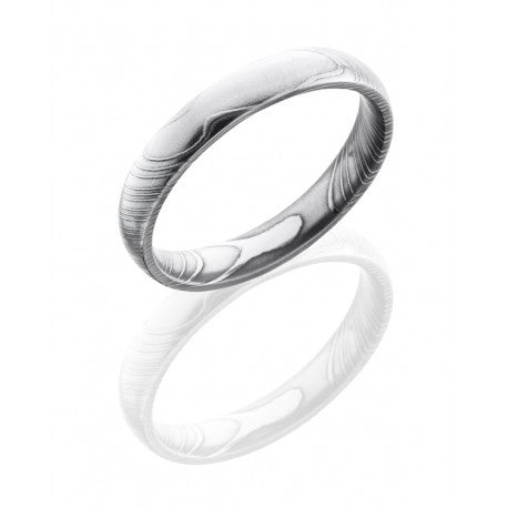 Damascus Steel 4mm Domed Band