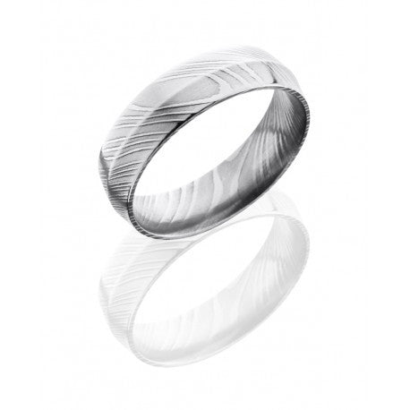 Damascus Steel 6mm Peaked Band