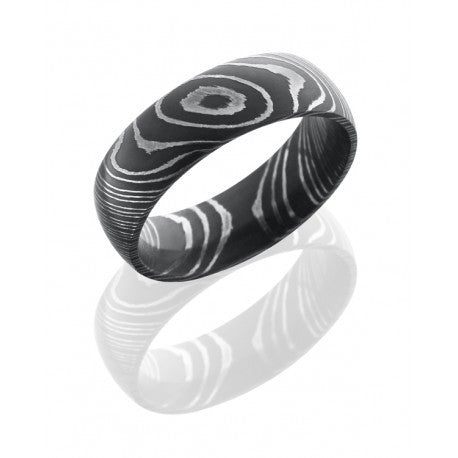 Damascus Steel 7mm Domed Band