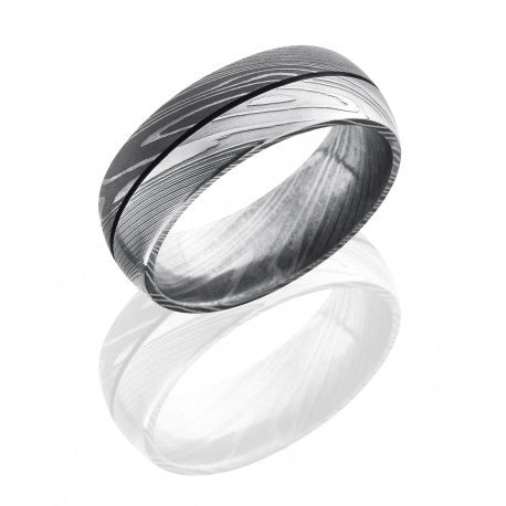 Damascus Steel 8mm Domed Band with .5mm Groove