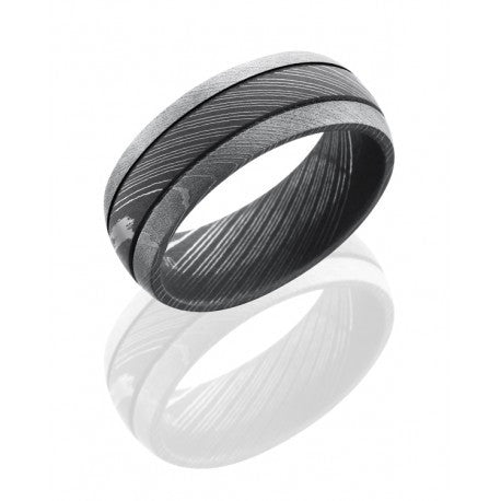 Damascus Steel 8mm Domed Band with Two .5mm Grooves