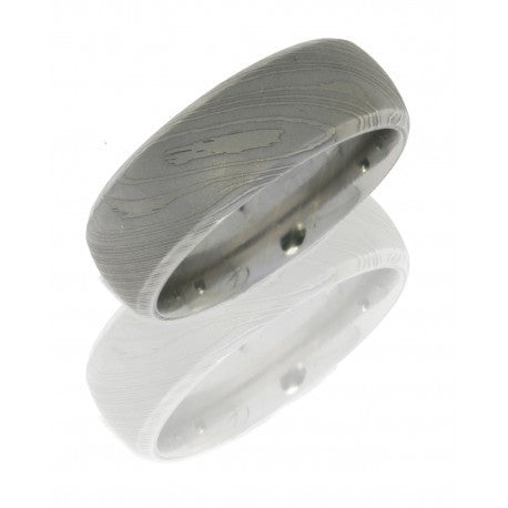 Damascus Steel 8mm Domed Band with Beveled Edges